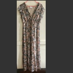Motherhood Maternity Floral Brown Maxi Dress XL